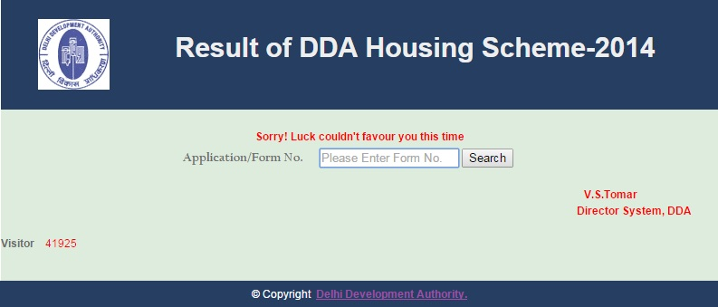 Result of DDA housing Scheme 2014 with application