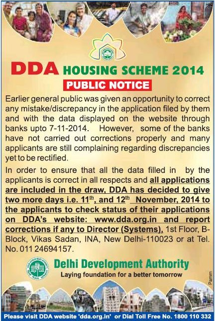 Correct Mistake Data for DDA 2014 Housing Scheme Application Forms
