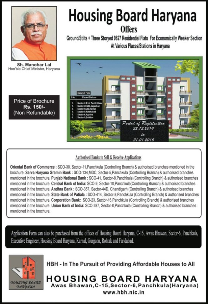 Housing Board Haryana 9827 EWS Flats Scheme