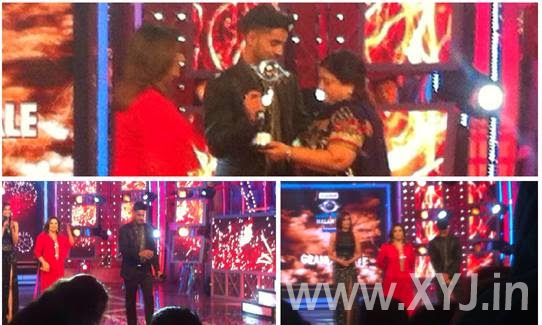 Gautam Gualti with BB8 trophy and his mother