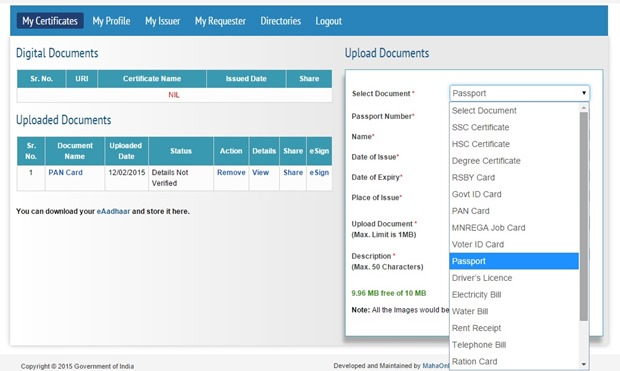 List of Document & Certificate Can be Submit in DigiLocker