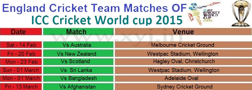 England Matches Schedule, World Cup 2015 England Matches Schedule