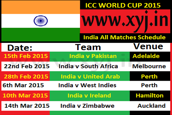 India Matches Schedule, world cup 2015 India Matches Schedule