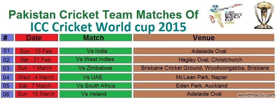 Pakistan Matches Schedule, World Cup 2015 Pakistan Matches Schedule