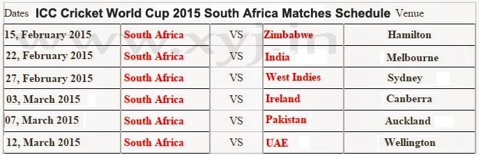 ICC Cricket World Cup 2015  South Africa  Matches Schedule