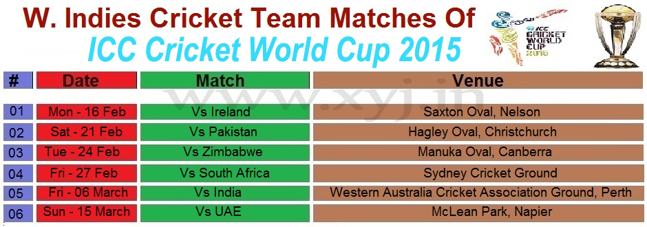 West Indies Matches Schedule, World Cup 2015 West Indies Matches Schedule