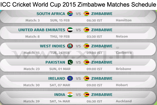 ICC Cricket World Cup 2015  Zimbabwe Matches Schedule
