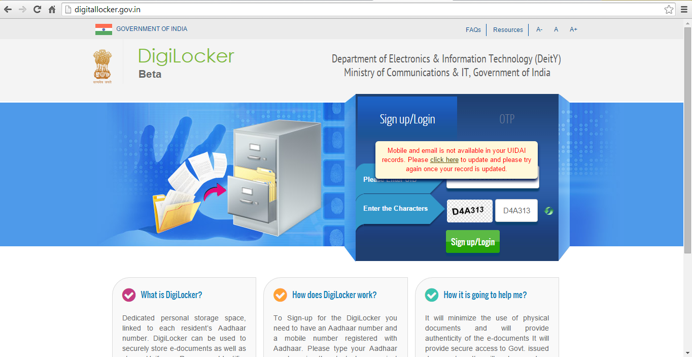 digitallockerindia, DigiLocker, Digital Locker System