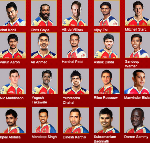 Royal Challengers Banglore (RCB) team squad Image 2015
