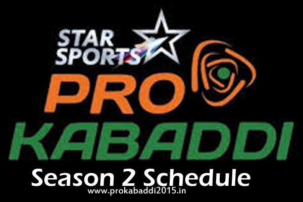 Pro Kabaddi 2015 Season 2 Schedule