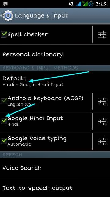google hindi input setting