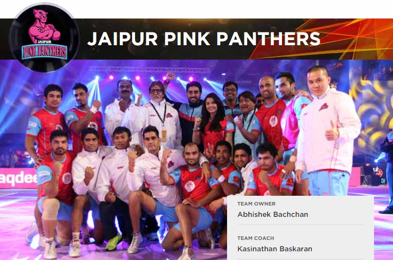 Jaipur Pink PAnthers Logo, Team Players