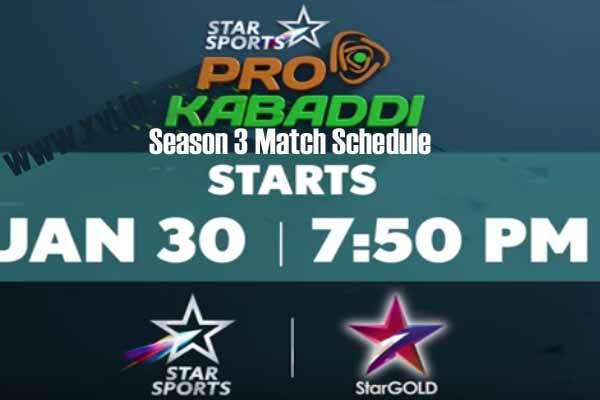 Pro Kabaddi 2016 Season 3 Complete Match Schedule Details