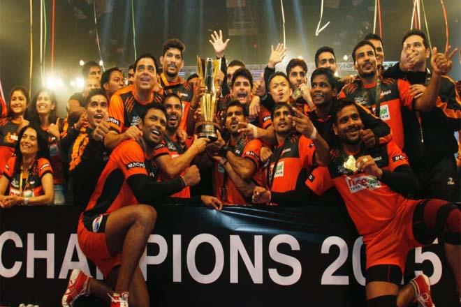 Pro Kabaddi U Mumba Winning 2015 Image with Trophie