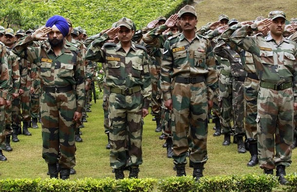 Indian army soldiers salute