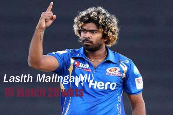 Lasith Malinga with purple cap in ipl 2011