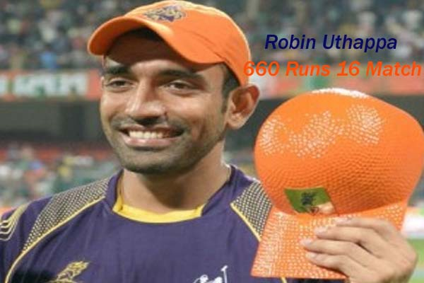 Robin Uthappa IPL 2014 Season 7 Orange Cap Holder
