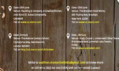 MasterChef India (International) Season 5 London, New York, Dubai Audition Date & Venue