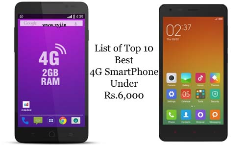 Top 10 Best 4G Smartphone Under Rs. 6000 in India with Price