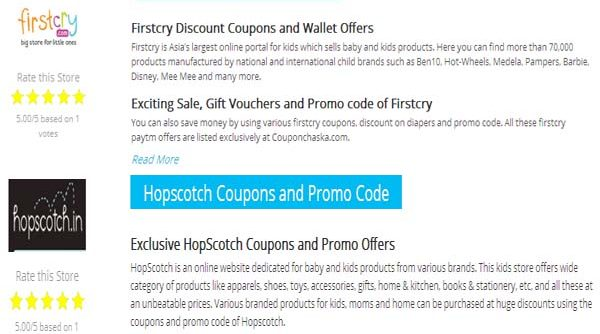 Coupon Chaska Promo Code for firstcry hopscotch