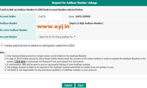 Link aadhar to idbi bank image 3